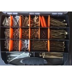 Skrue sortimentskasse med 530 udendørs kvalitetsskruer ravplugs mm